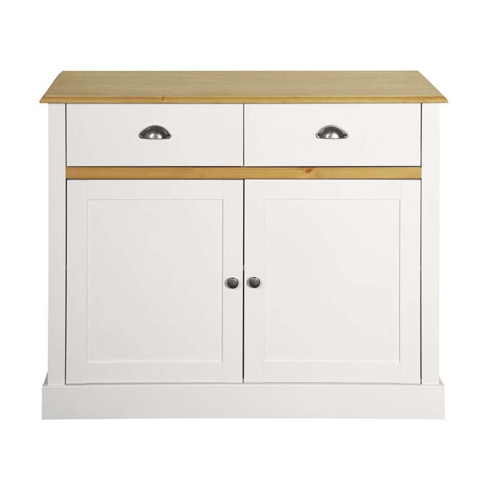 Dressoir Sandringham 2-deurs - wit/wax - 40x100x81 cm - Leen Bakker