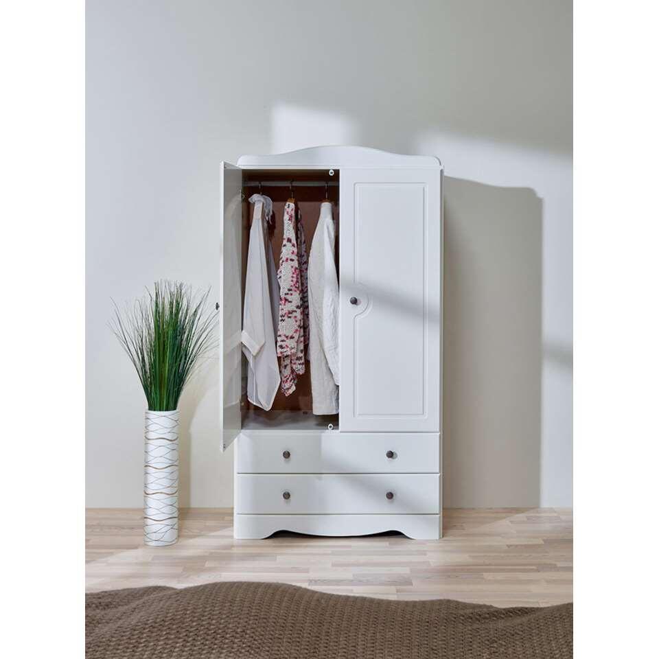 Kledingkast milford 2 deurs wit 152 9x81 1x49 cm for Kledingkasten outlet