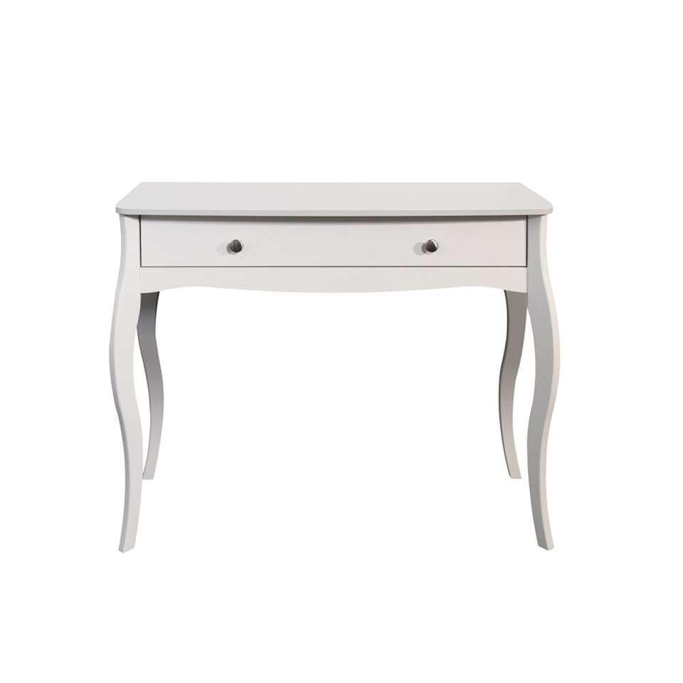 Kaptafel Baroque is een landelijk romantische tafel, zeer geschikt om in de slaapkamer te zetten. Zo kun je makkelijk je haar of make-up doen als je er een comfortabele stoel vof de bijpassende kruk voor zet.