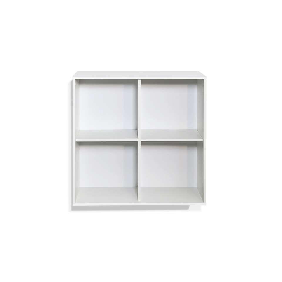 Boekenkast Boxy 4 vakken - wit - 73,8x73,8x25,2 cm - Leen Bakker