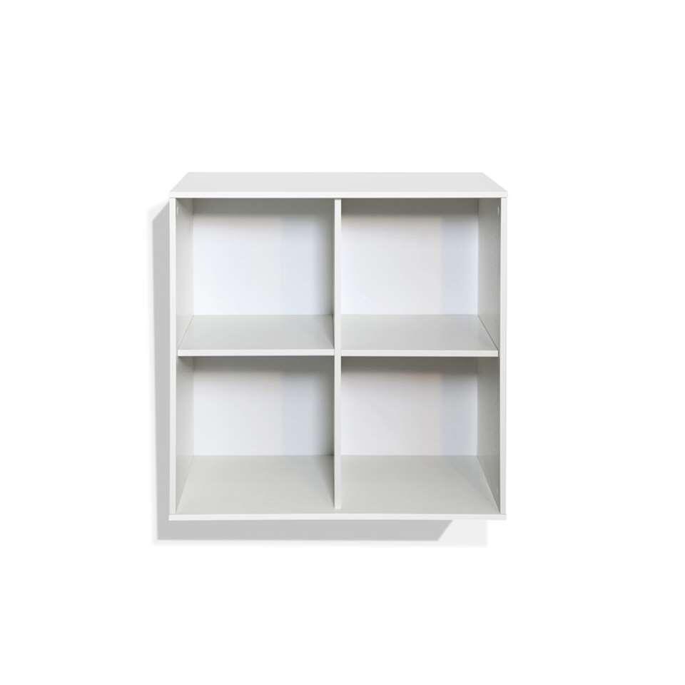 Boekenkast Boxy 4 vakken - wit - 73,8x73,8x34,8 cm - Leen Bakker