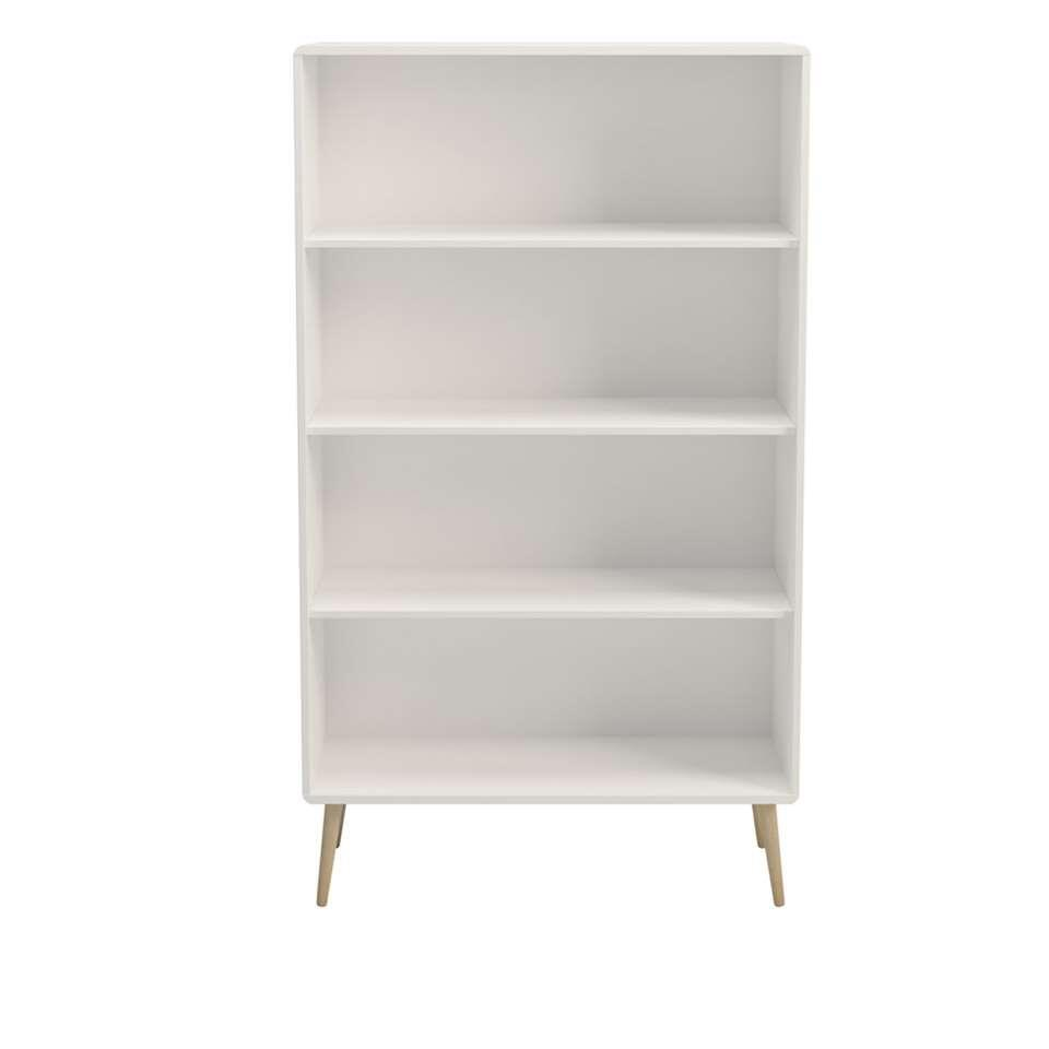 Boekenkast Soft Line breed - wit - 166x81,3x33,2 cm