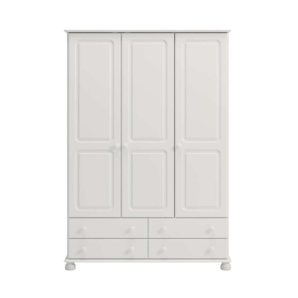 Kledingkast Richmond 3-deurs - wit - 185,1x129,4x57 cm - Leen Bakker