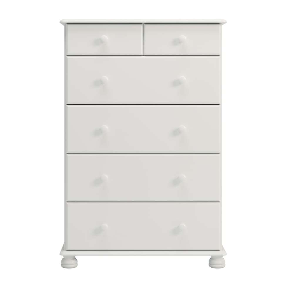 Kast Richmond 6 lades - wit - 121,9x82,4x46,8 cm - Leen Bakker