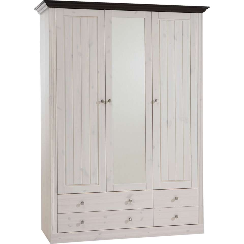 Kledingkast Monaco 3-deurs – white wash – 201,4×145,2×60 cm – Leen Bakker