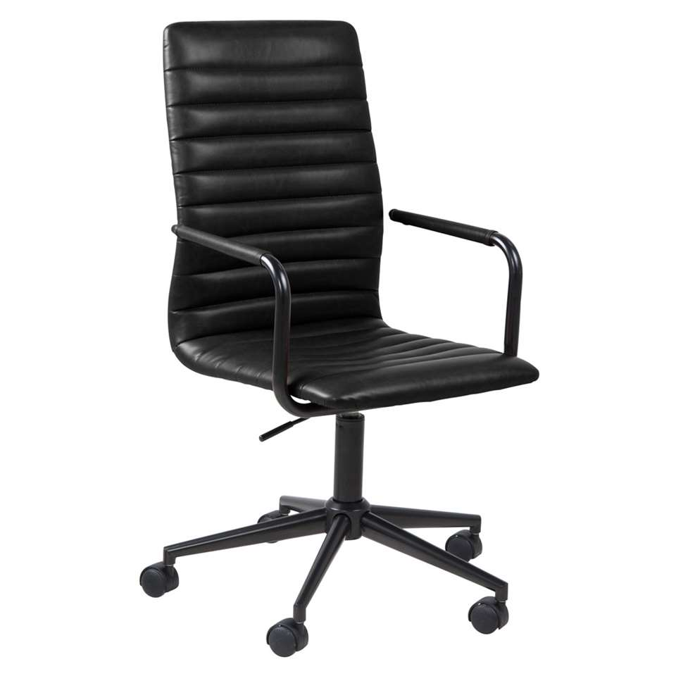 Bureaustoel Horda is een moderne en stijlvolle bureaustoel met een zwarte kunstlederen bekleding. De stoel is in hoogte verstelbaar en heeft een zwart metalen onderstel. De stoel is verrijdbaar en dat geeft bewegingsvrijheid!