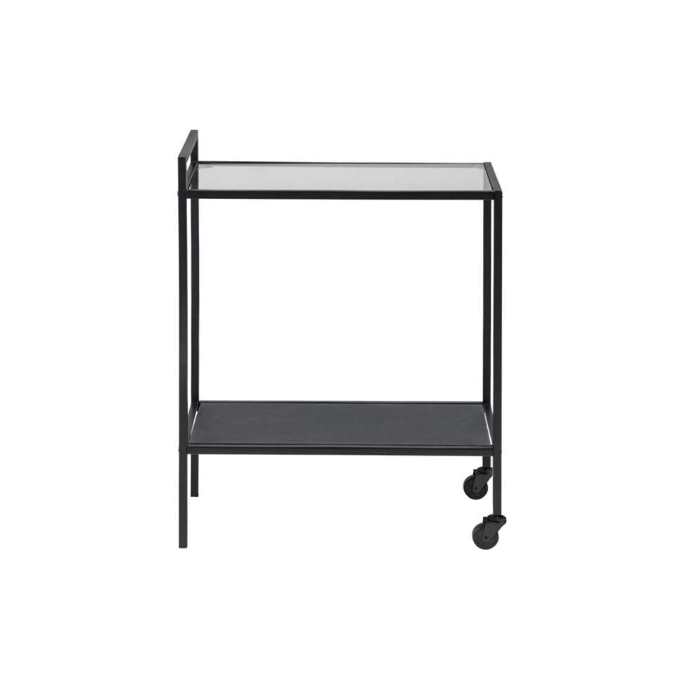 Bijzettafel Jelling - glas/zwart - 60x30x75 cm - Leen Bakker