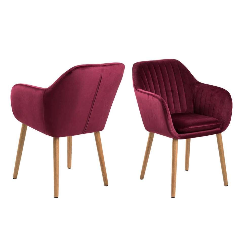 Chaise de salle à manger Meda - velours - bordeaux (une pièce)