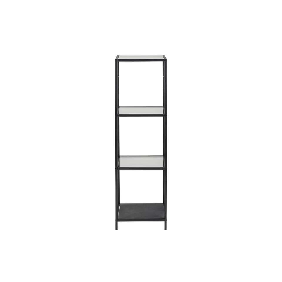Vitrinekast Jelling - glas/zwart - 119,5x35x37 cm - Leen Bakker