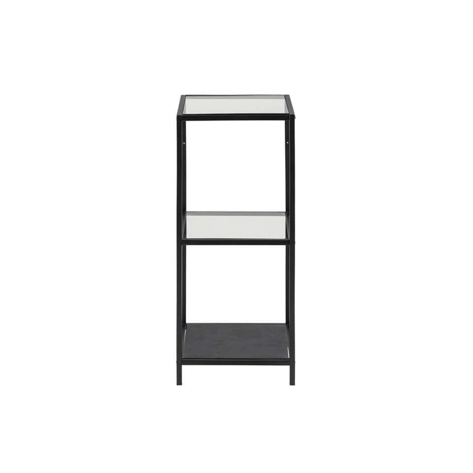 Vitrinekast Jelling - glas/zwart - 82,5x35x37 cm - Leen Bakker