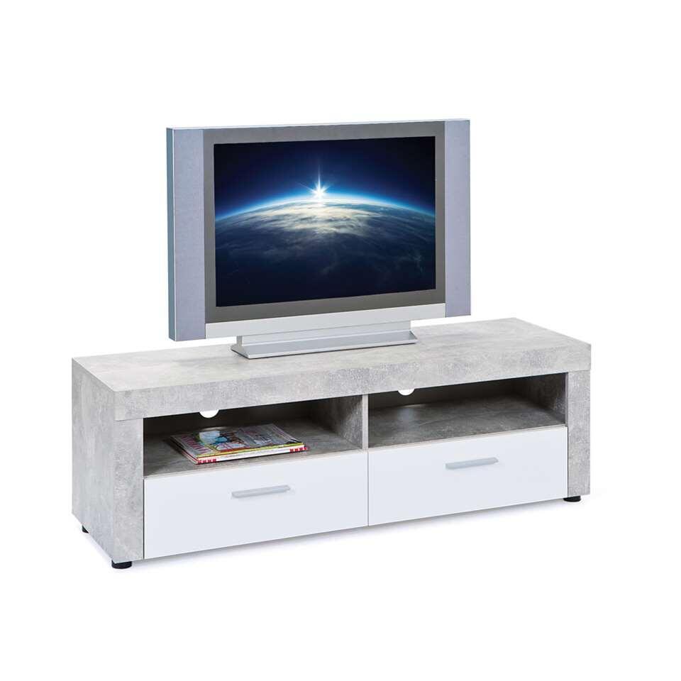 TV-meubel Tisvilde - grijs/wit - 42x134x43 cm - Leen Bakker