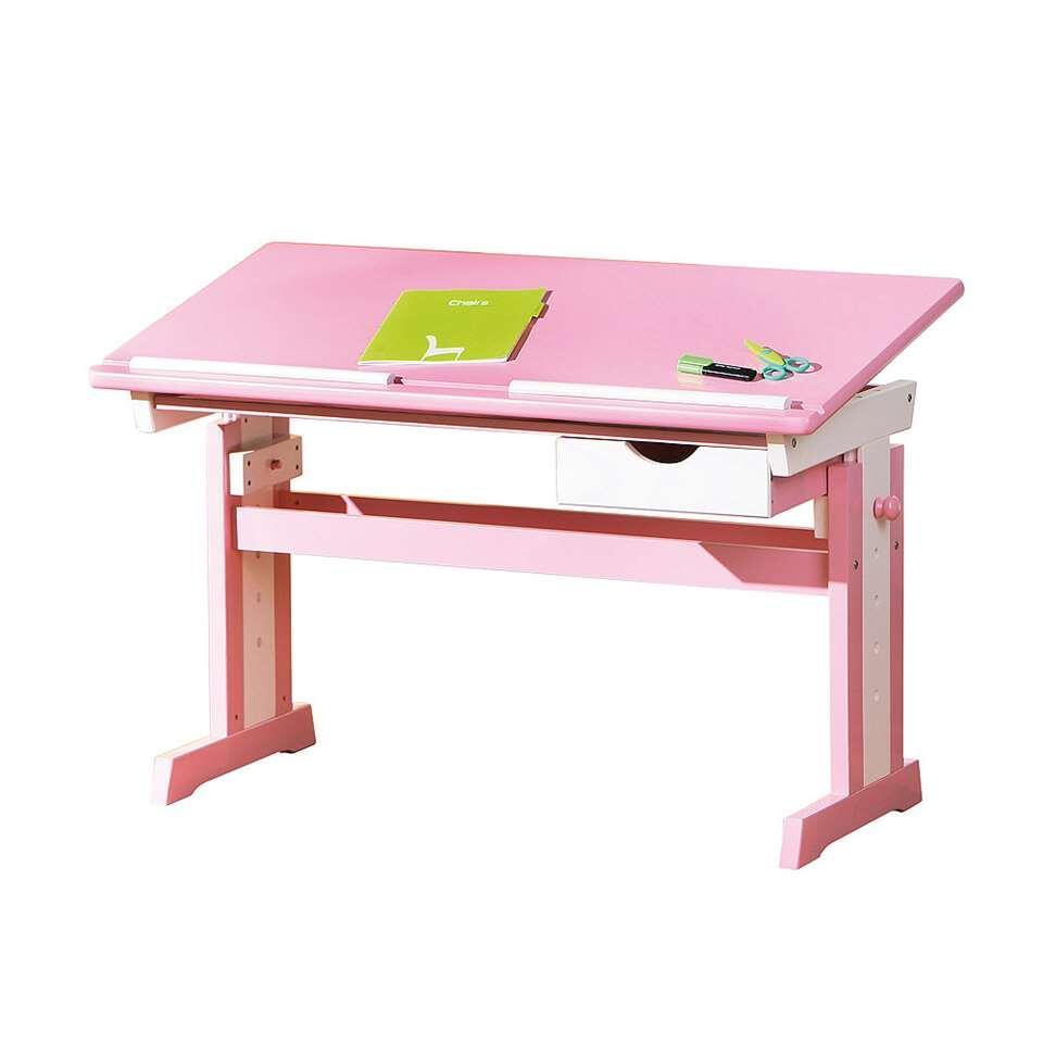 Bureau Cecilia is een verstelbaar bureau voor kinderen. Het bureau is roze met wit en gemaakt van MDF. Dit bureautje is heel gemakkelijk in hoogte verstelbaar.