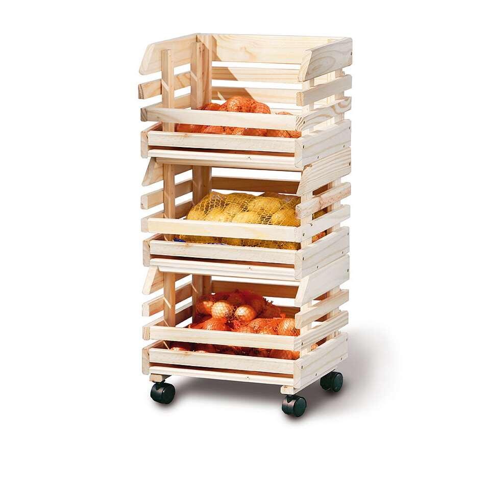 Deze keukentrolley bestaat uit drie op elkaar gestapelde fruitkisten. Deze keukentrolley is ideaal voor het bewaren van je groenten en fruit en ziet er ook nog eens leuk uit.