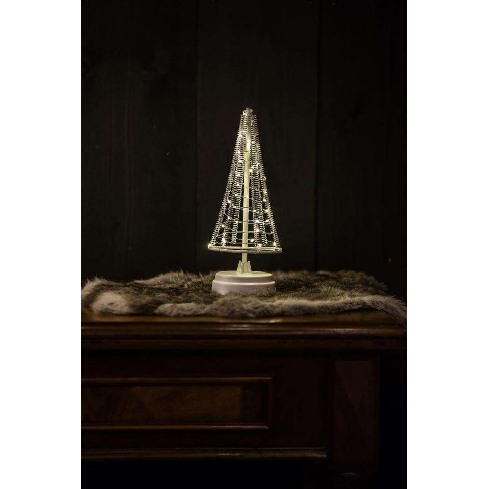 Christmas United kerstboom - wit/zilver - 26x10 cm