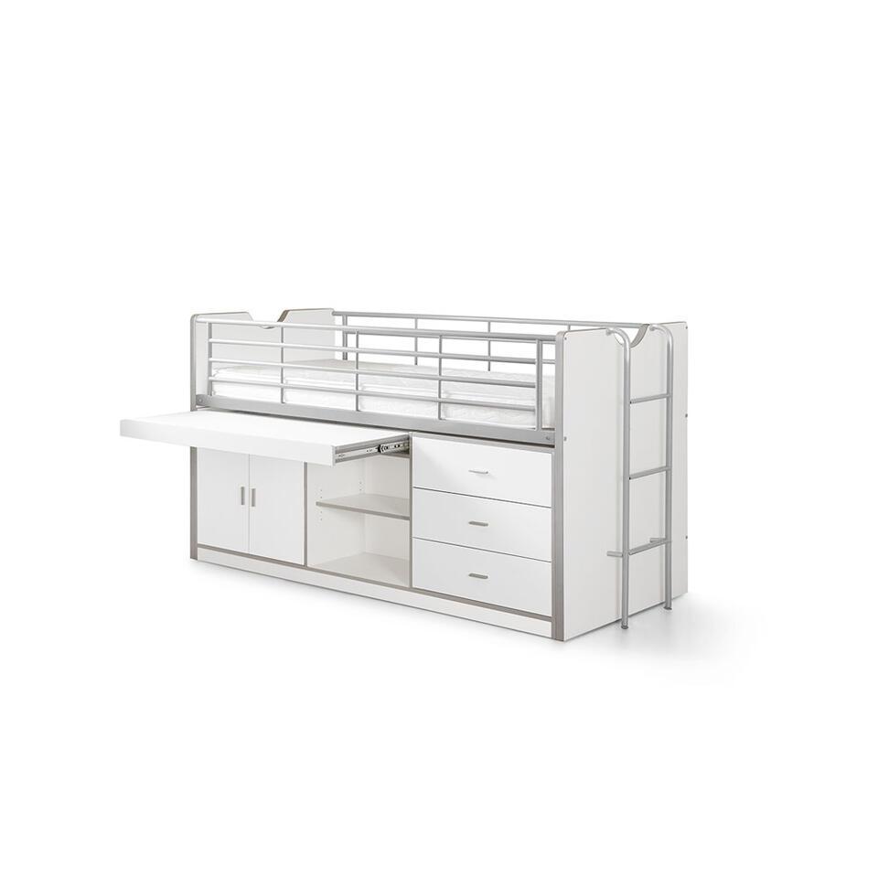 Vipack halfhoogslaper Bonny met uitschuifbaar bureau - wit - 116x96x207 cm - Leen Bakker