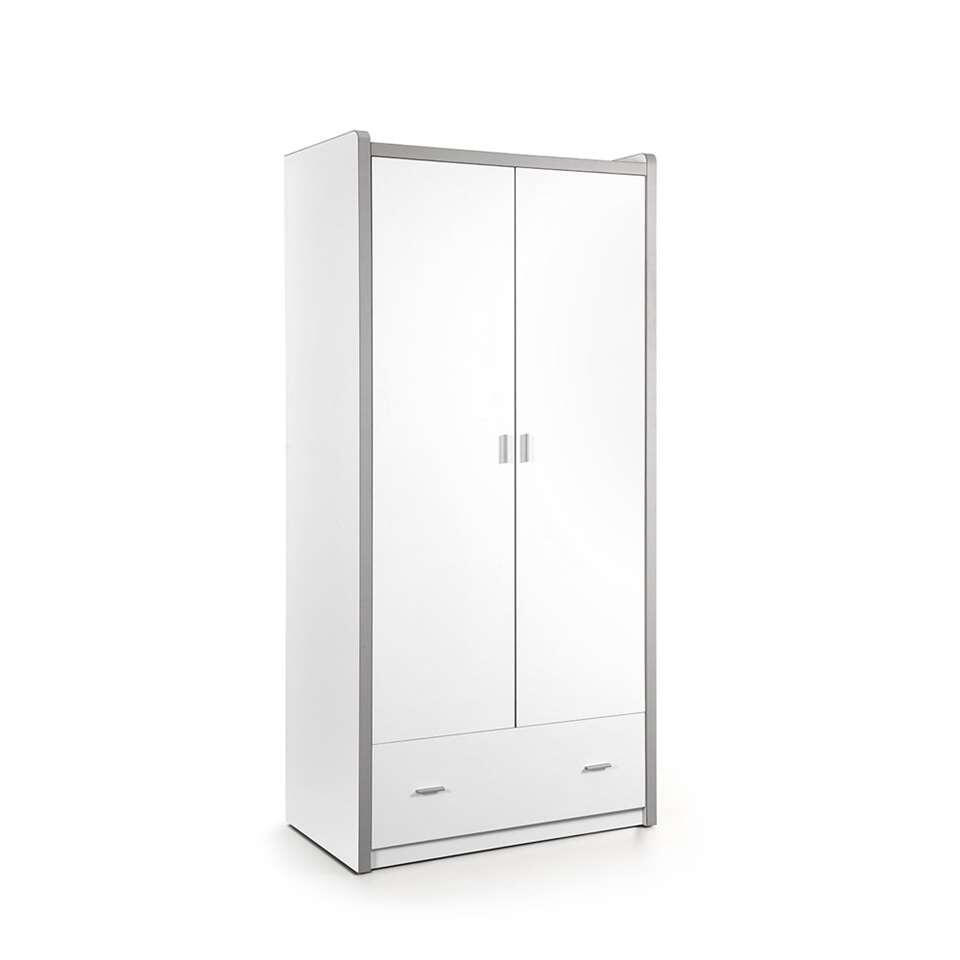 Vipack kledingkast Bonny 2-deurs - wit - 202x96,5x60 cm - Leen Bakker