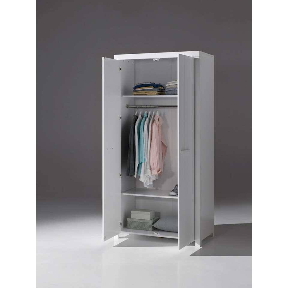 Vipack kledingkast erik 2 deurs wit 205x100x55 cm for Kledingkasten outlet