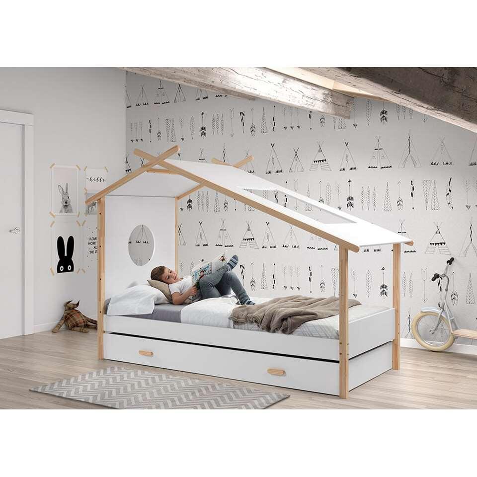 Vipack tipi bed Cocoon met rolbed - wit - 163x103x233 cm - Leen Bakker