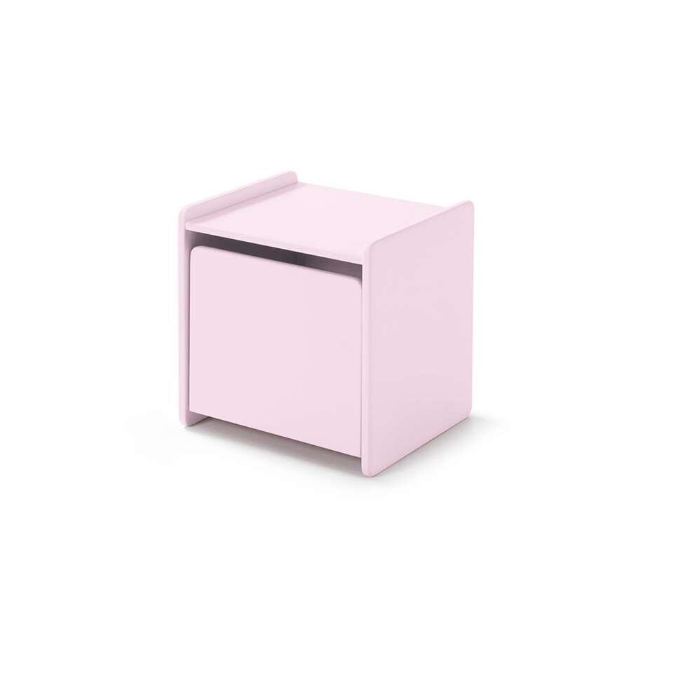 Vipack nachtkastje Kiddy - 1 deur - oud roze - Leen Bakker