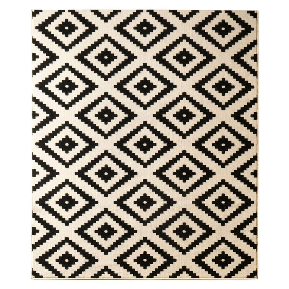 Hanse Home vloerkleed Diamond - zwart/crème - 80x150 cm - Leen Bakker