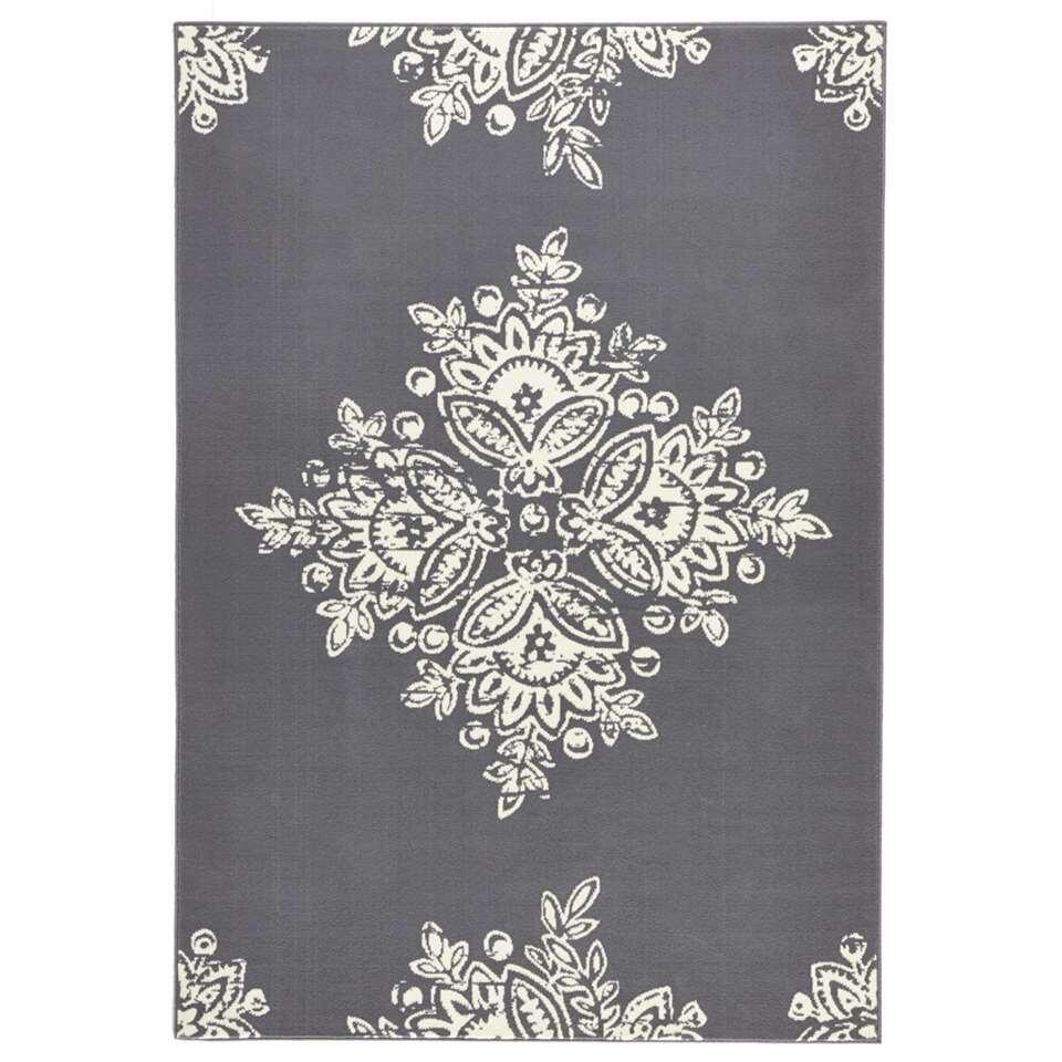 Hanse Home vloerkleed Blossom - grijs/crème - 80x150 cm - Leen Bakker