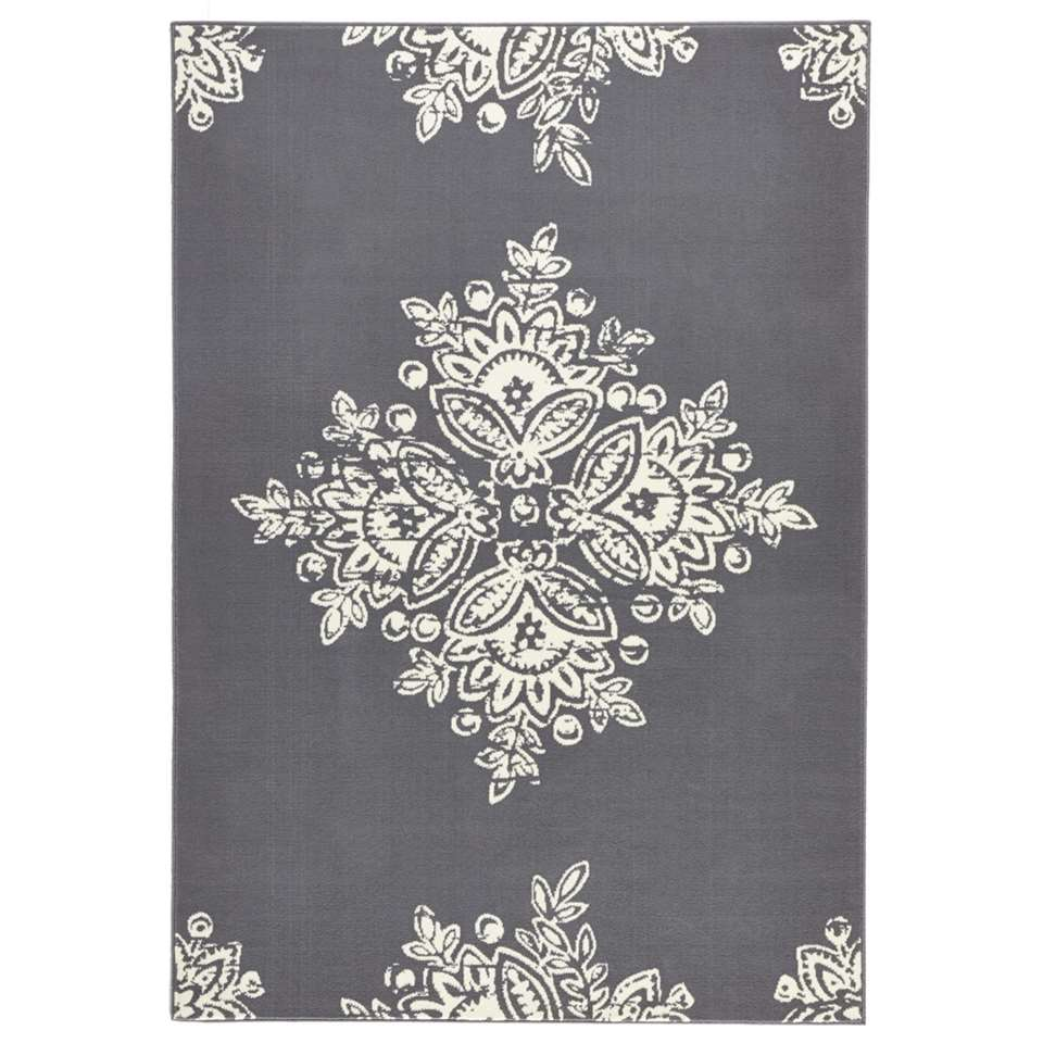 Hanse Home vloerkleed Blossom - grijs/crème - 200x290 cm - Leen Bakker