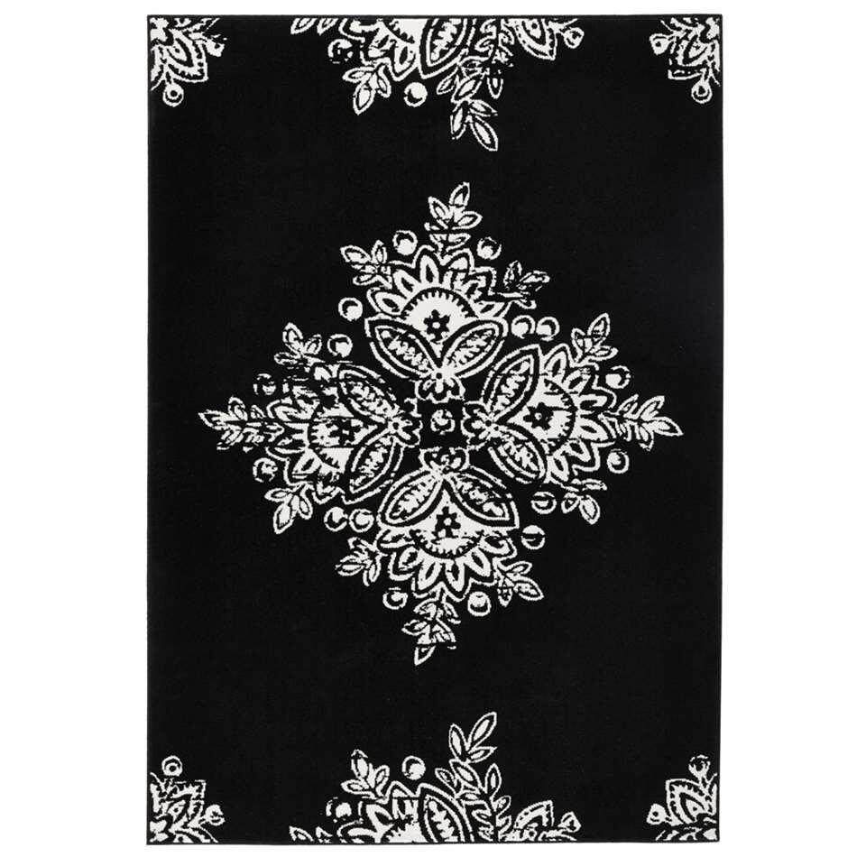 Hanse Home vloerkleed Blossom - zwart/crème - 80x150 cm - Leen Bakker