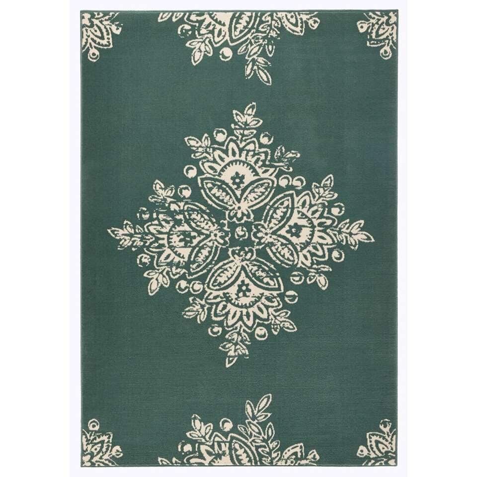 Hanse Home vloerkleed Blossom - groen/crème - 160x230 cm - Leen Bakker