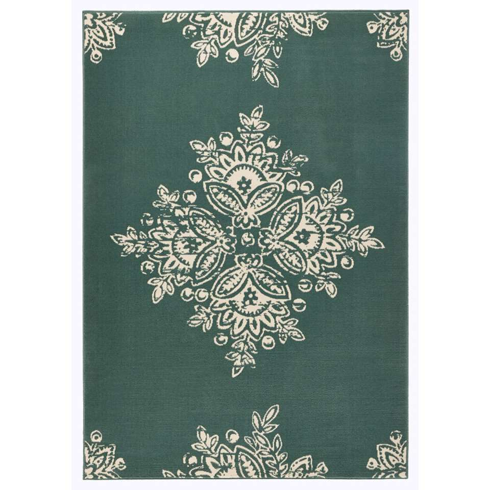 Hanse Home vloerkleed Blossom - groen/crème - 200x290 cm - Leen Bakker
