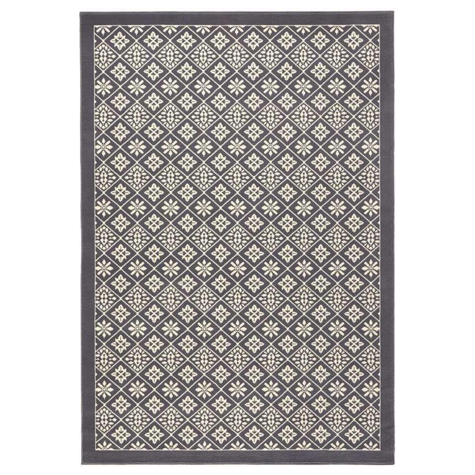 Hanse Home vloerkleed Tile - grijs/crème - 120x170 cm - Leen Bakker
