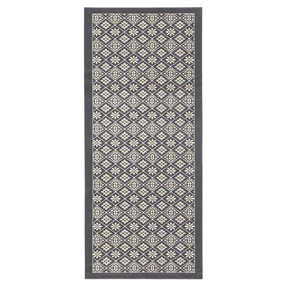 Hanse Home vloerkleed Tile - grijs/crème - 80x300 cm - Leen Bakker