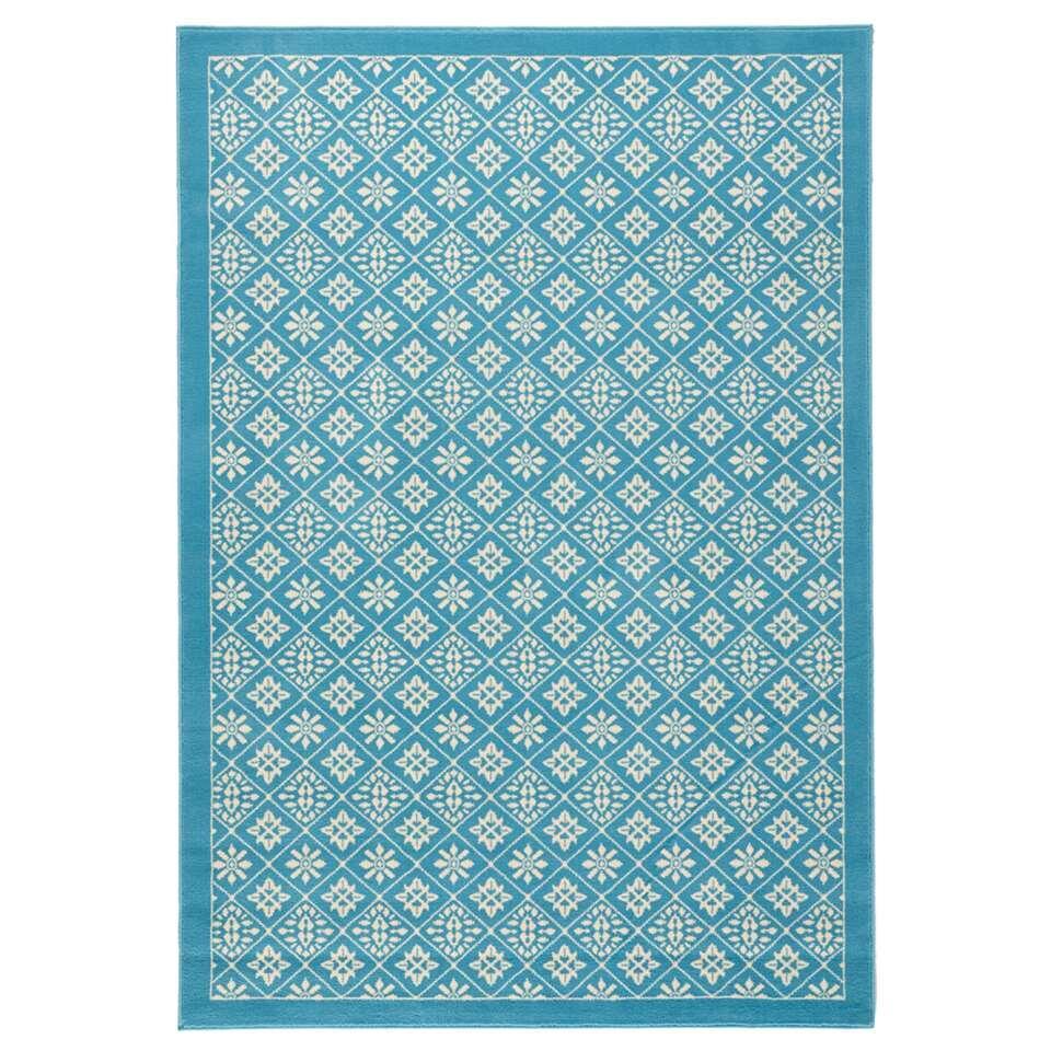 Hanse Home vloerkleed Tile - blauw/crème - 200x290 cm - Leen Bakker