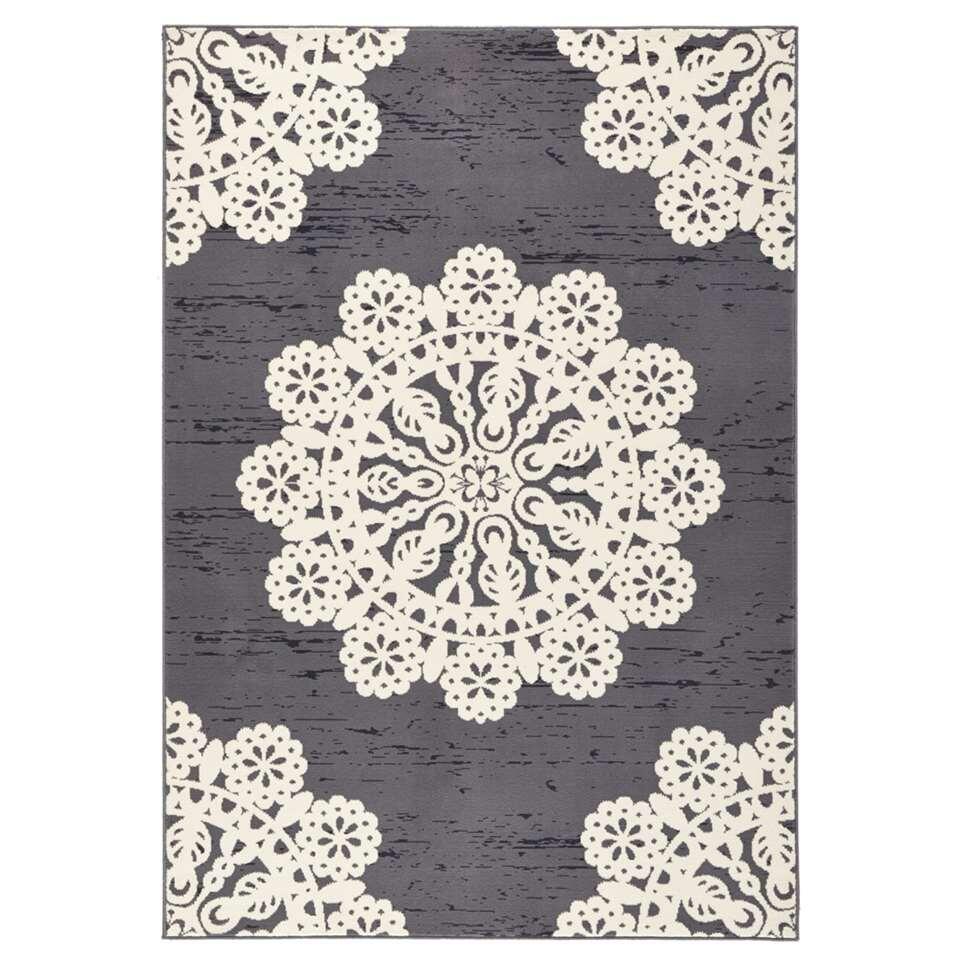 Hanse Home vloerkleed Lace - grijs/crème - 160x230 cm - Leen Bakker