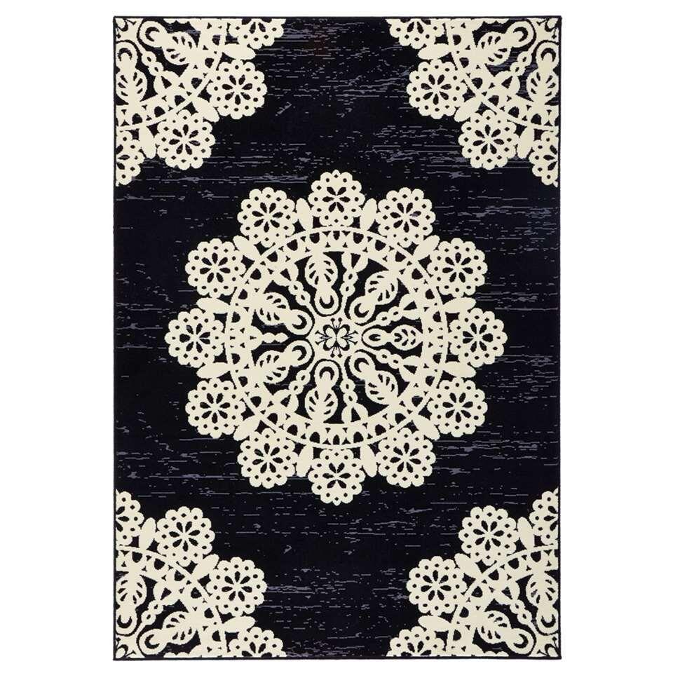 Hanse Home vloerkleed Lace - zwart/crème - 120x170 cm - Leen Bakker