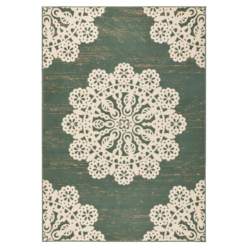 Hanse Home vloerkleed Lace - groen/crème - 160x230 cm - Leen Bakker