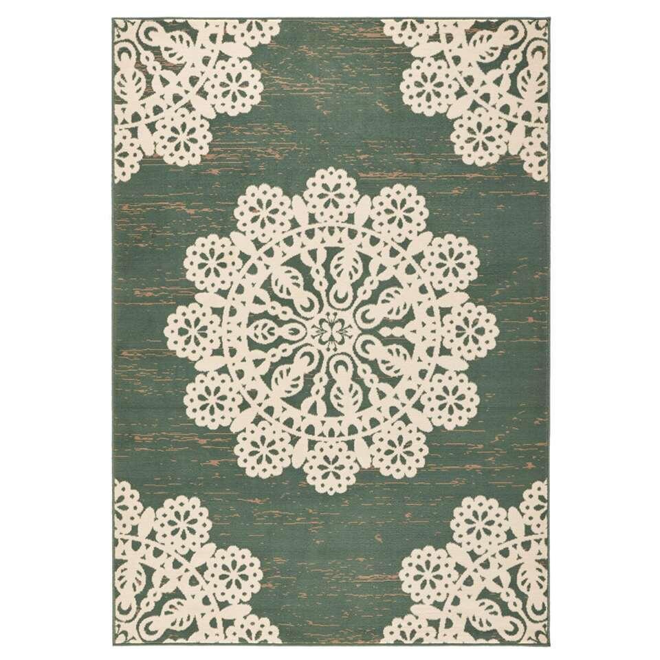 Hanse Home vloerkleed Lace - groen/crème - 200x290 cm - Leen Bakker