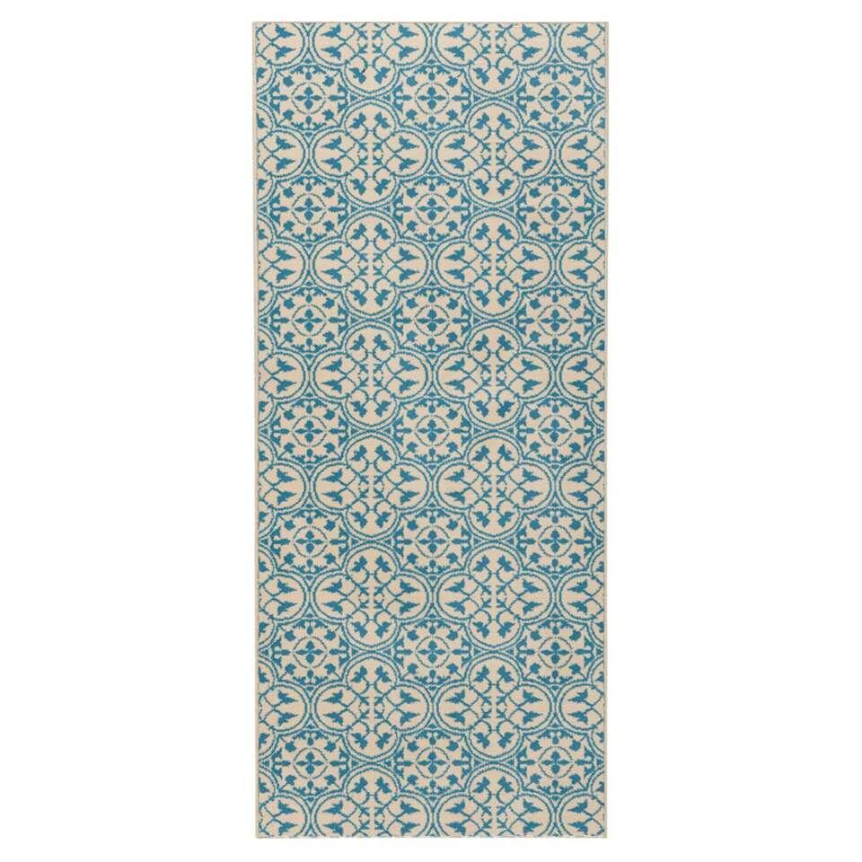 Hanse Home vloerkleed Pattern - blauw/crème - 80x300 cm - Leen Bakker