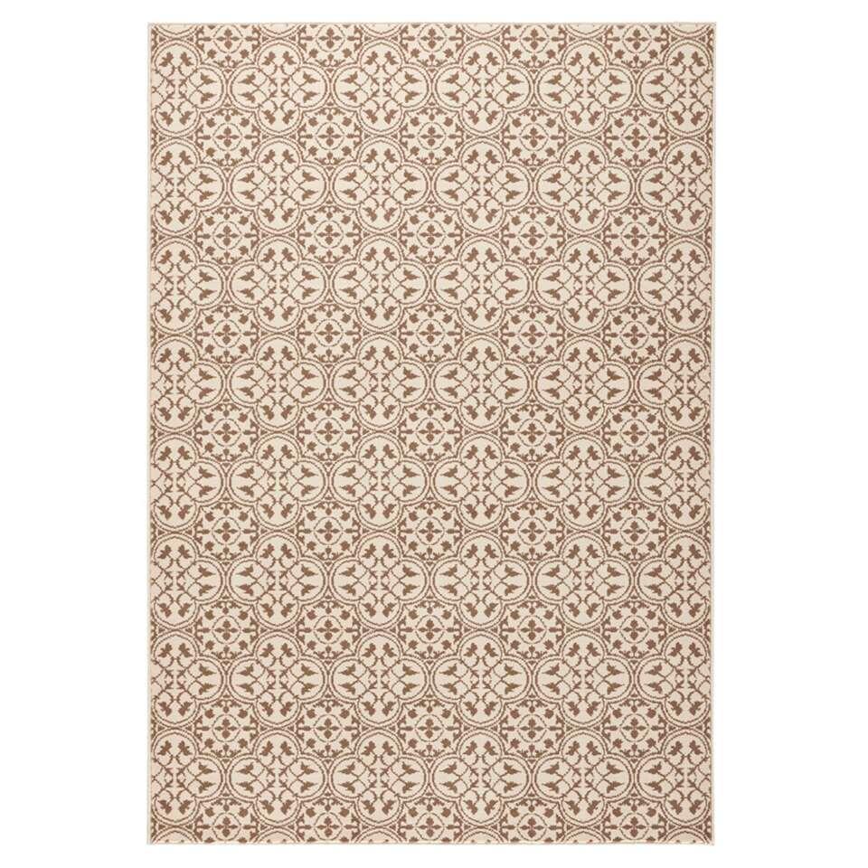 Hanse Home vloerkleed Pattern - bruin/crème - 80x150 cm - Leen Bakker