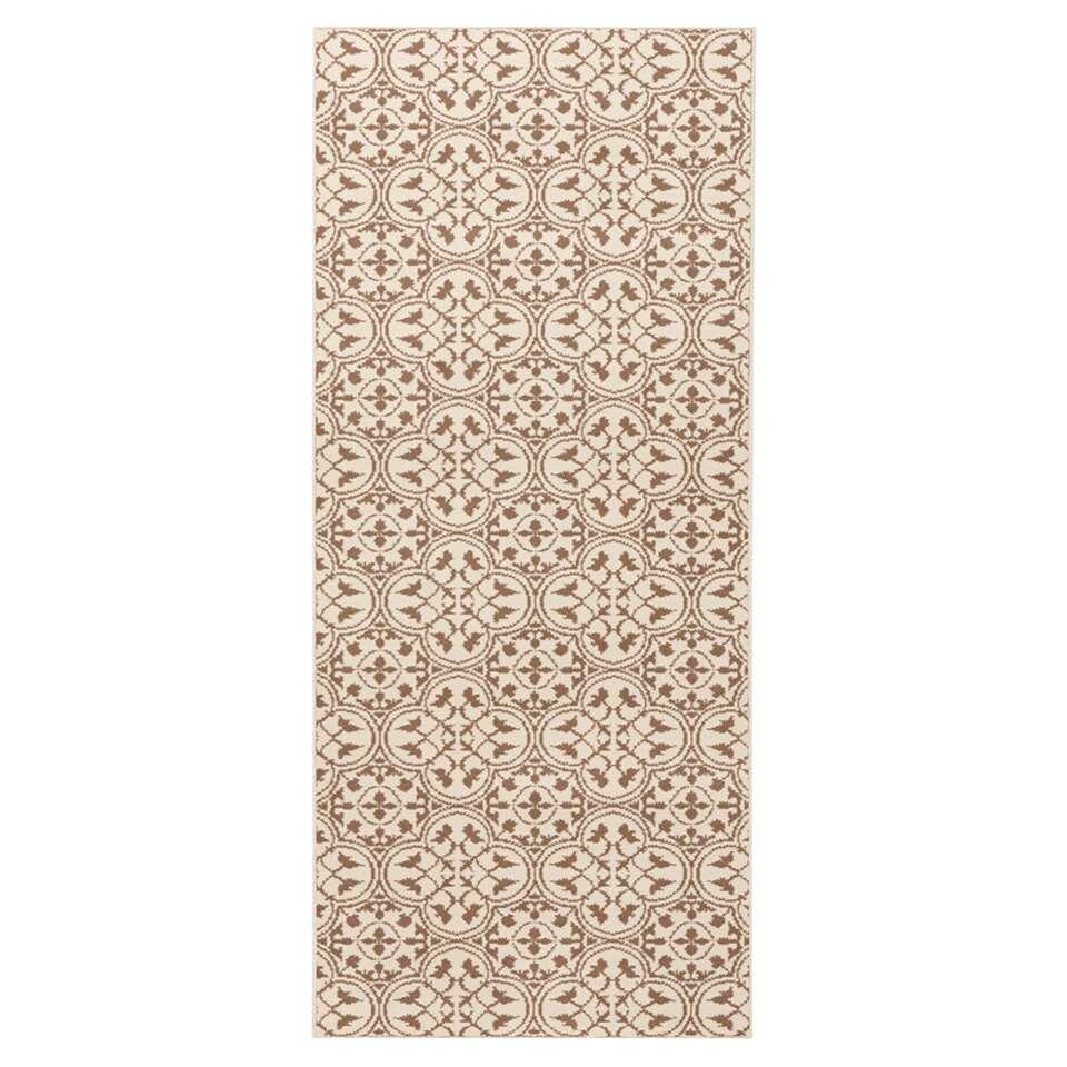 Hanse Home vloerkleed Pattern - bruin/crème - 80x200 cm - Leen Bakker