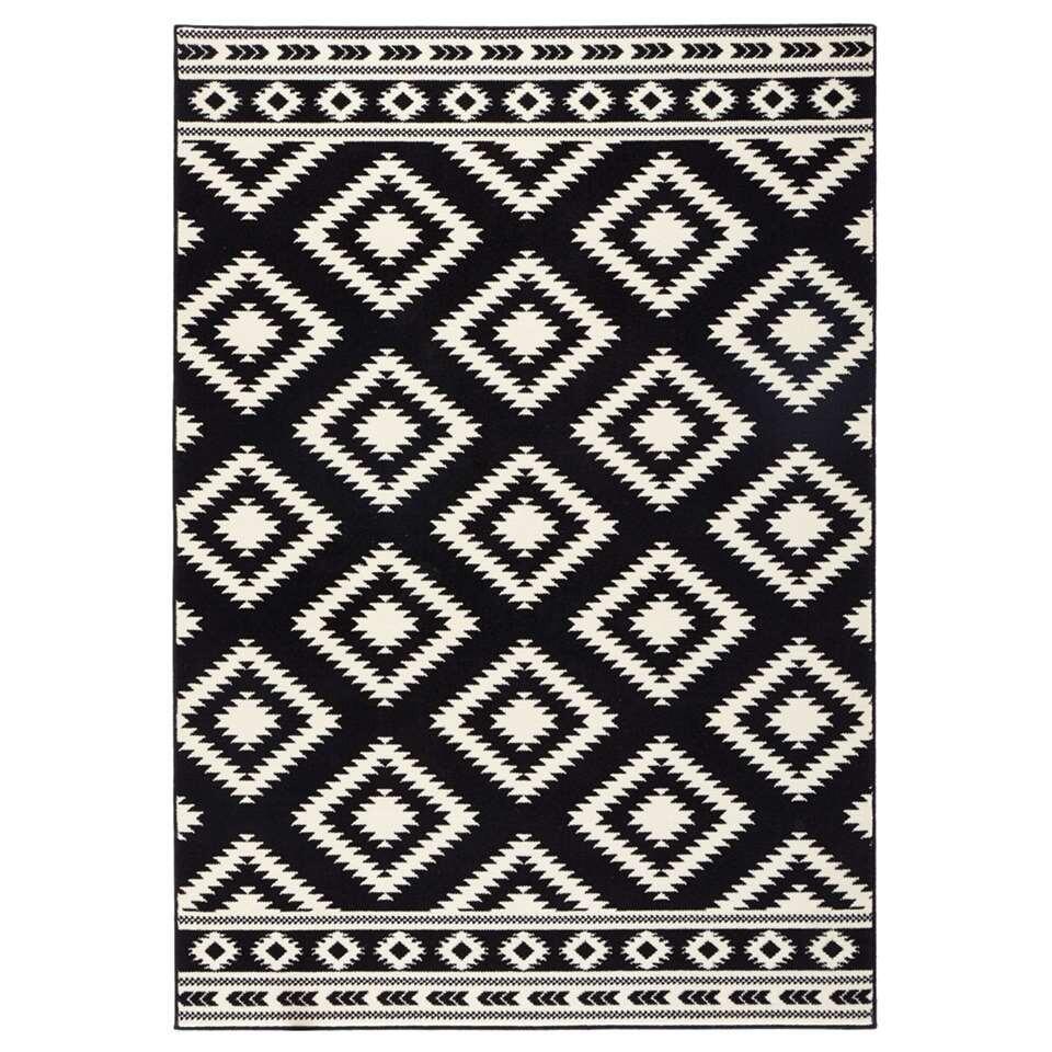 Hanse Home vloerkleed Ethno - zwart/crème - 80x150 cm - Leen Bakker