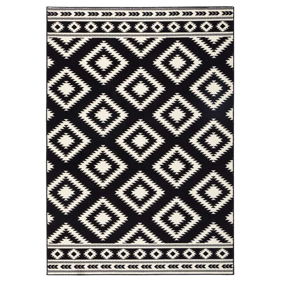 Hanse Home vloerkleed Ethno - zwart/crème - 200x290 cm - Leen Bakker