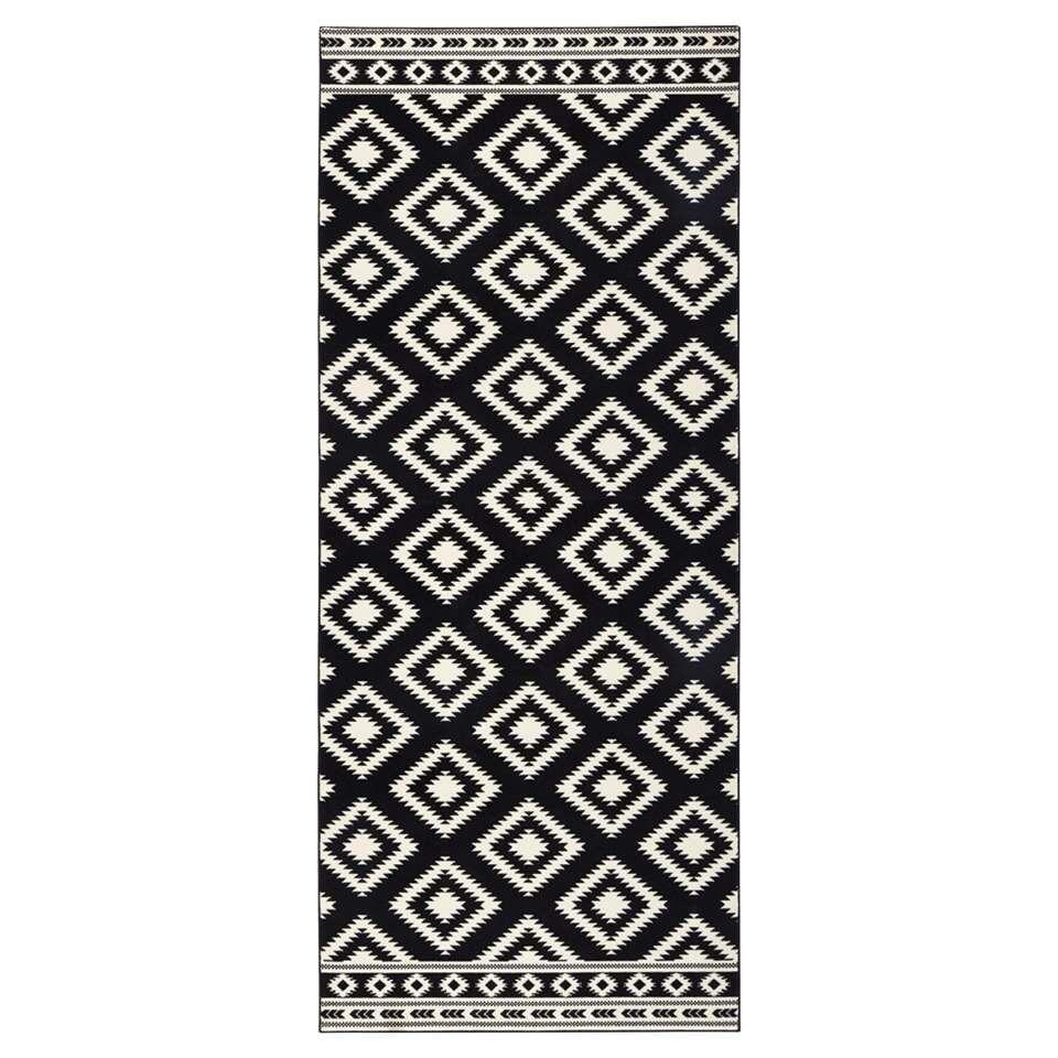 Hanse Home vloerkleed Ethno - zwart/crème - 80x200 cm - Leen Bakker