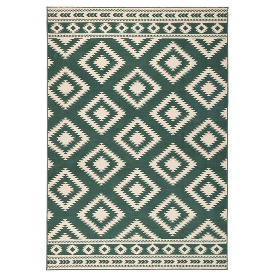 Hanse Home vloerkleed Ethno - groen/crème - 80x150 cm - Leen Bakker