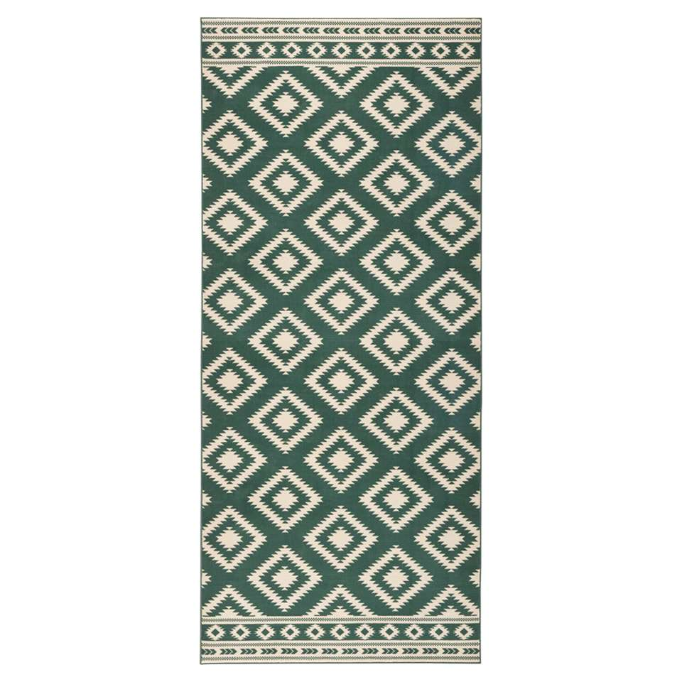 Hanse Home vloerkleed Ethno - groen/crème - 80x200 cm - Leen Bakker