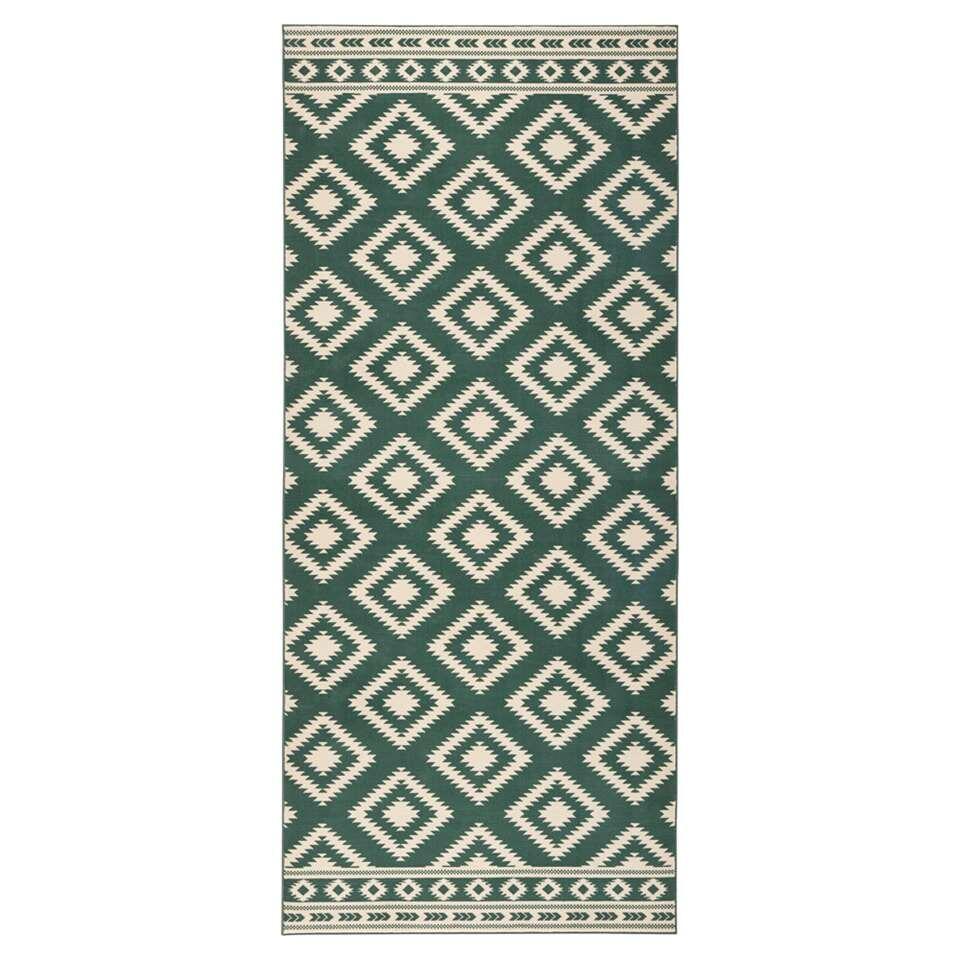 Hanse Home vloerkleed Ethno - groen/crème - 80x300 cm - Leen Bakker