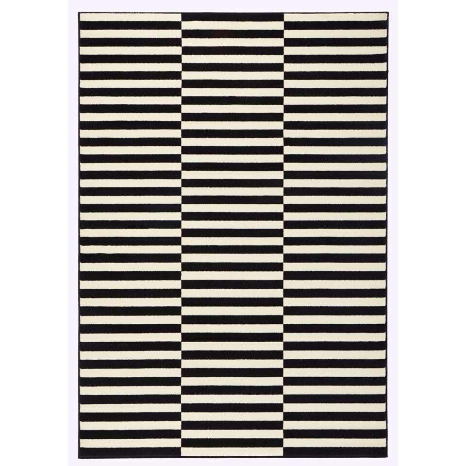 Hanse Home vloerkleed Panel - zwart/crème - 160x230 cm - Leen Bakker