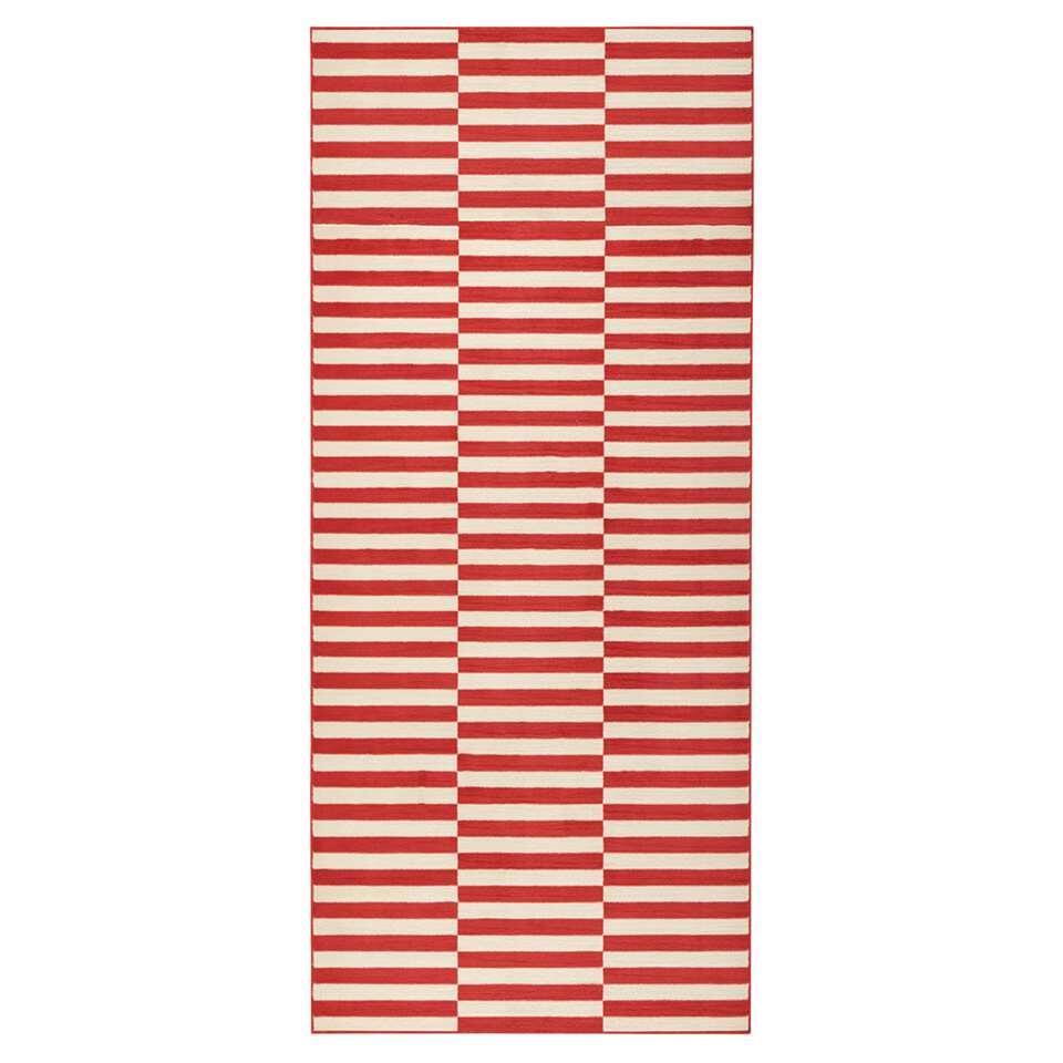 Hanse Home vloerkleed Panel - koraal/crème - 80x200 cm - Leen Bakker