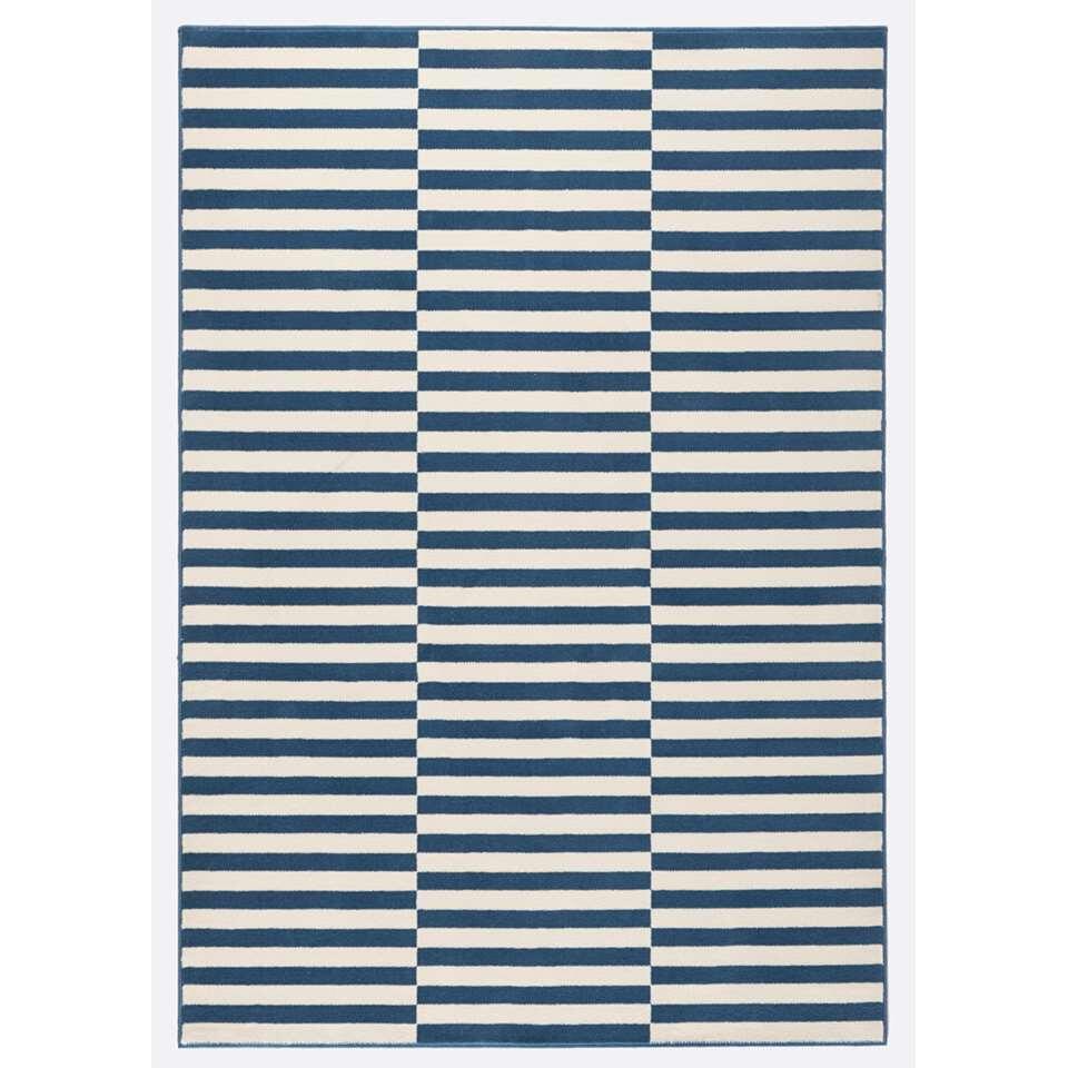 Hanse Home vloerkleed Panel - blauw/crème - 80x150 cm - Leen Bakker
