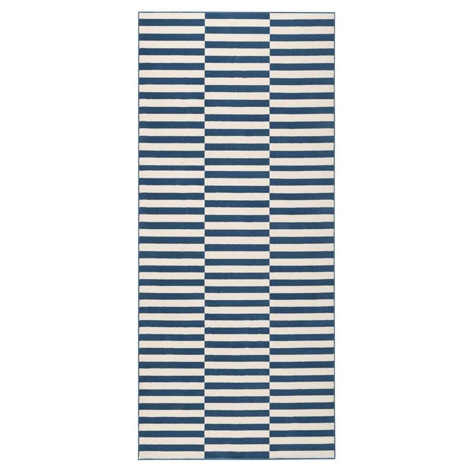 Hanse Home vloerkleed Panel - blauw/crème - 80x200 cm - Leen Bakker