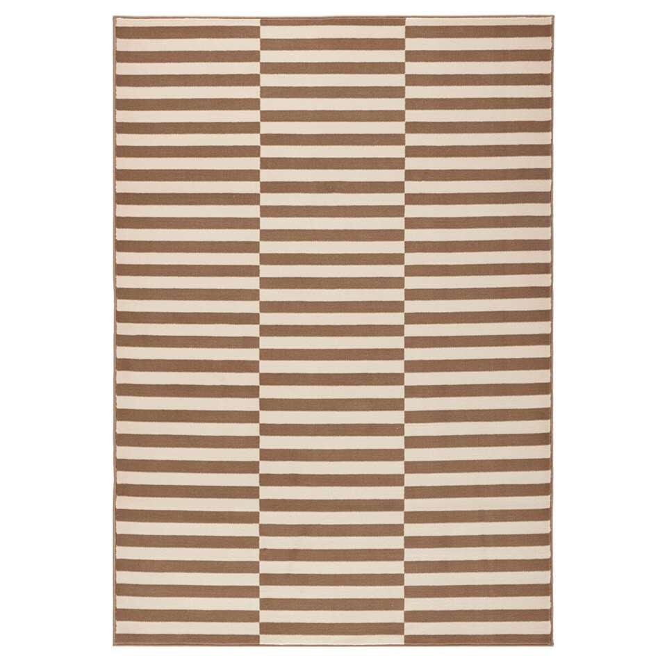 Hanse Home vloerkleed Panel - bruin/crème - 80x150 cm - Leen Bakker